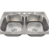 PT2201US Topmount Double Equal Bowl Stainless Steel Sink