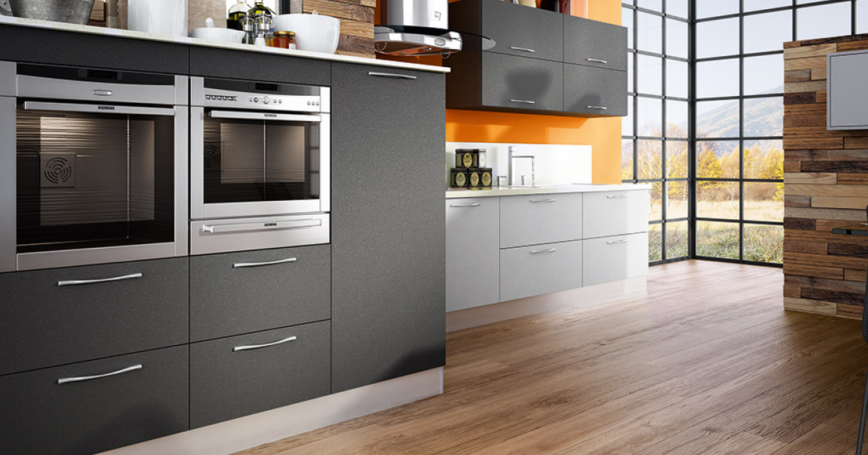 matte grey cabients pair with white in a mordern kitchen