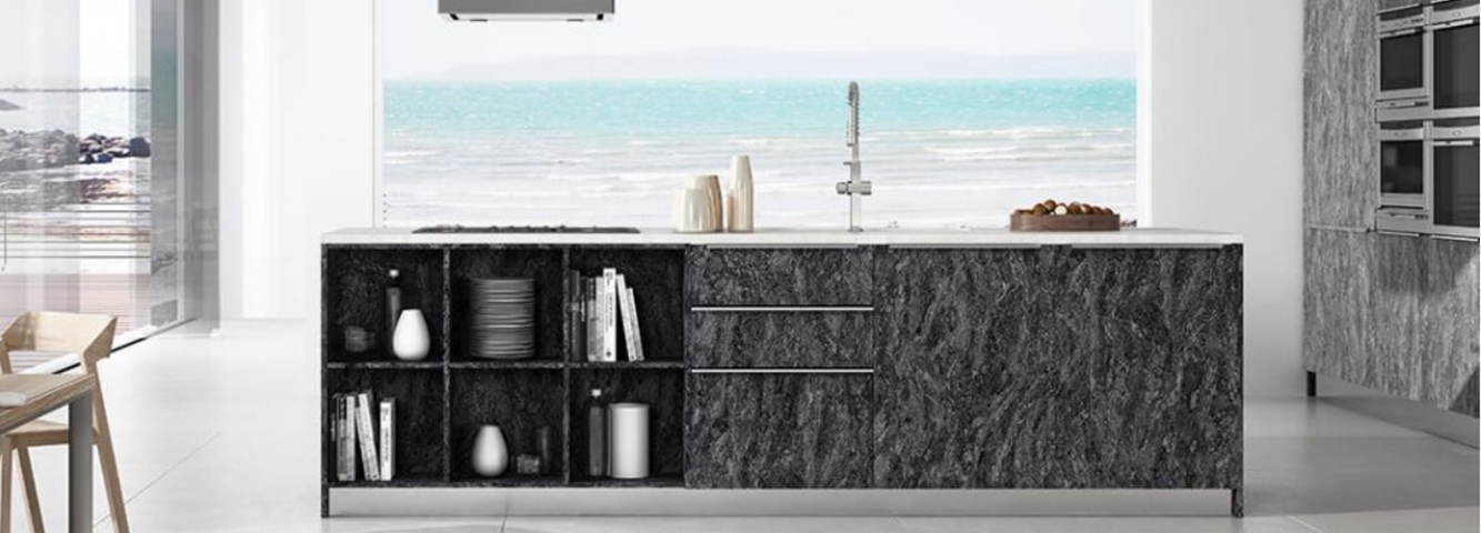 Modern Kitchen Cabinets with a textured finish